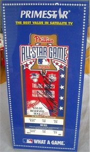 John Smoltz autographed 1996 MLB All-Star Game ticket with display stand