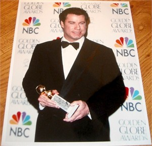 John Travolta autographed 1996 Golden Globes 8x10 portrait photo