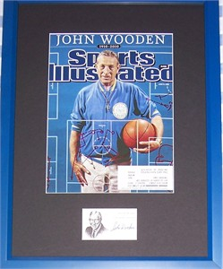 John Wooden autograph framed with UCLA Bruins 2010 Sports Illustrated tribute cover