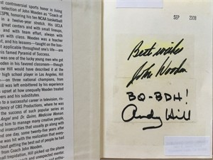 John Wooden autographed Be Quick But Don't Hurry! hardcover book inscribed Best wishes