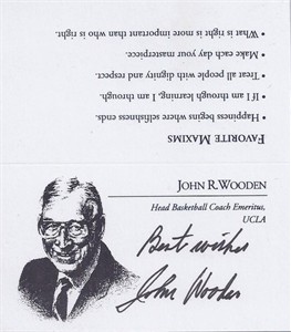 John Wooden autographed UCLA Bruins business card inscribed Best wishes