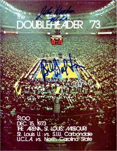 John Wooden & Bill Walton autographed 1973 UCLA Bruins basketball program