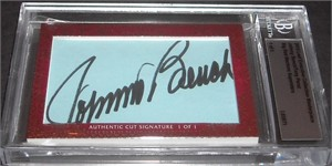 Johnny Bench & Tony Perez certified autograph 2012 Leaf Executive Masterpiece Dual Cut Signature card #1/1