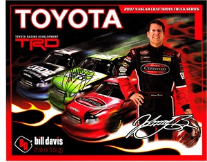 Johnny Benson autographed 2007 Toyota 8x10 NASCAR Craftsman Truck Series photo card