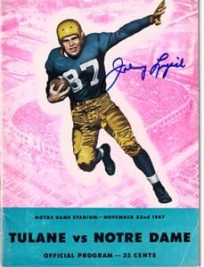Johnny Lujack autographed 1946 Notre Dame vs. Purdue game program