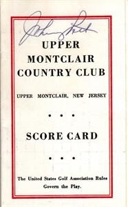 Johnny Pott autographed Upper Montclair Country Club 1960s golf scorecard