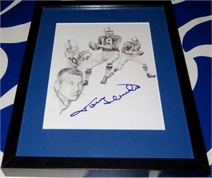 Johnny Unitas autographed Baltimore Colts art print matted & framed