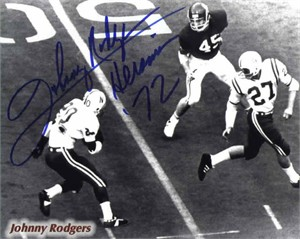 Johnny Rodgers autographed Nebraska Cornhuskers 8x10 photo inscribed Heisman 72