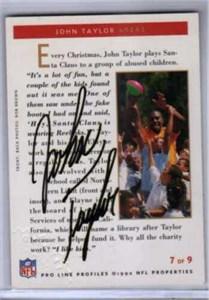 John Taylor certified autograph San Francisco 49ers 1992 Pro Line card