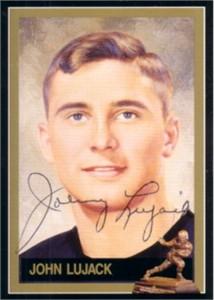 Johnny Lujack autographed Notre Dame 1947 Heisman Trophy card