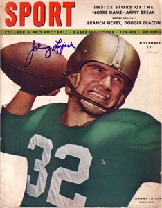 Johnny Lujack autographed Notre Dame 1947 Sport magazine