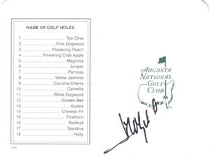 Jose Maria Olazabal autographed Augusta National Masters scorecard
