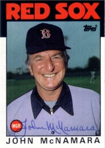 John McNamara autographed Boston Red Sox 1986 Topps card