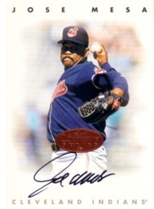 Jose Mesa certified autograph Cleveland Indians 1996 Leaf Signature card