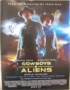 Jon Favreau autographed Cowboys and Aliens mini movie poster