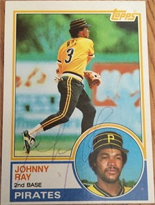 Johnny Ray autographed Pittsburgh Pirates 1987 Donruss card