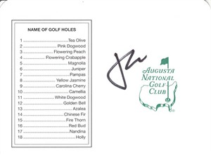Jordan Spieth autographed Augusta National Masters scorecard
