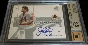 John Riggins certified autograph Washington Redskins 2002 SP Authentic card BGS graded 8.5