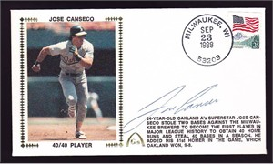 Jose Canseco autographed Oakland A's first 40/40 player Gateway cachet