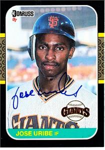 Jose Uribe autographed San Francisco Giants 1987 Donruss card