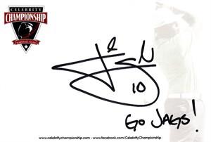 Josh Scobee autographed 4x6 signature card inscribed Go Jags!