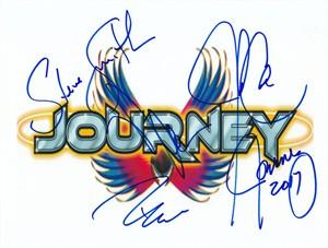 Journey autographed 8x10 logo print (Jonathan Cain Neal Schon Ross Valory)