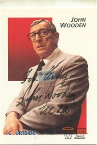 John Wooden autographed UCLA Courtside Flashback card (For Andy)