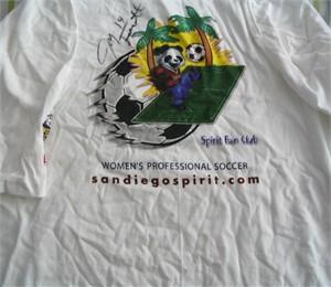 Joy Fawcett autographed WUSA San Diego Spirit T-shirt