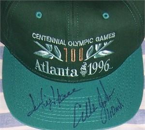 Jackie Joyner-Kersee & Allen Johnson autographed 1996 Olympics cap