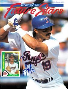 Juan Gonzalez autographed Texas Rangers Beckett Future Stars magazine cover