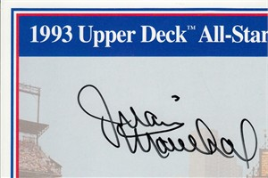 Juan Marichal autographed Upper Deck card sheet cut signature