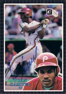 Juan Samuel autographed Philadelphia Phillies 1985 Donruss Action All-Stars card