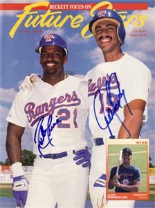 Juan Gonzalez & Ruben Sierra autographed Texas Rangers Beckett magazine cover