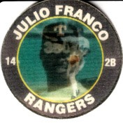 Julio Franco Texas Rangers 1991 7-11 Slurpee disc