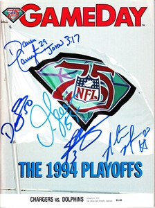 Junior Seau David Binn John Carney Darren Carrington Natrone Means autographed 1994 San Diego Chargers Playoff game program