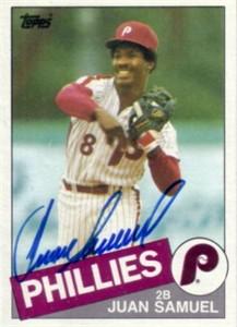 Juan Samuel autographed Philadelphia Phillies 1985 Topps card