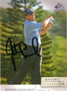 Justin Leonard autographed 2004 SP Signature golf card