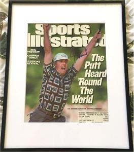 Justin Leonard autographed 1999 Ryder Cup winning putt celebration photo matted & framed