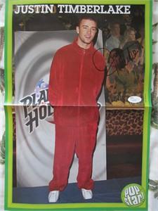 Justin Timberlake autographed mini vintage foldout poster (JSA)