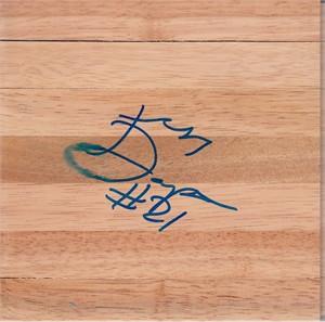 Katie Douglas autographed 6x6 basketball hardwood floor