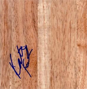 Katie (Feenstra) Mattera autographed 6x6 basketball hardwood floor
