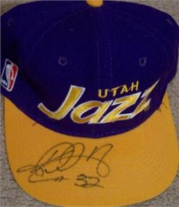 Karl Malone autographed Utah Jazz cap or hat