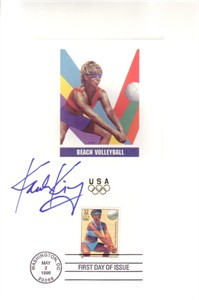 Karch Kiraly autographed beach volleyball 1996 Olympic USPS First Day of Issue souvenir card sheet