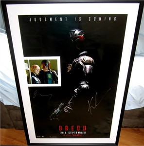 Karl Urban & Olivia Thirlby autographed Dredd 2012 full size teaser movie poster matted & framed with photo