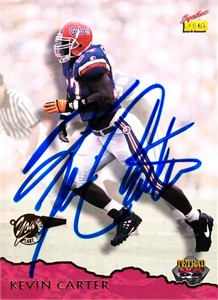 Kevin Carter certified autograph Florida Gators phone card