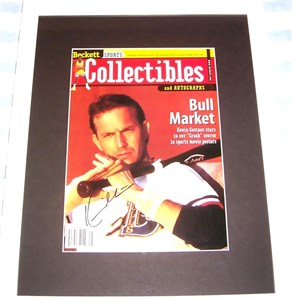 Kevin Costner autographed Bull Durham magazine cover matted & framed