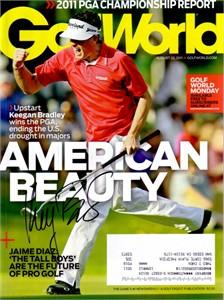 Keegan Bradley autographed 2011 PGA Championship Golf World magazine