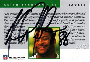 Keith Jackson certified autograph Philadelphia Eagles Pro Line card