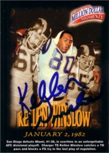 Kellen Winslow autographed San Diego Chargers 1982 AFC Playoff Game card