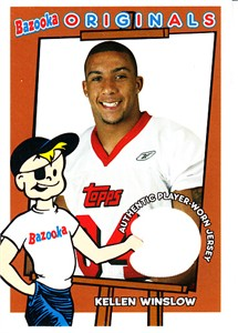 Kellen Winslow Jr. 2004 Topps Bazooka Originals player worn game jersey card #BOKW
